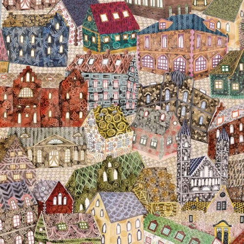 Vliesová tapeta Mr Perswall - Patchwork Houses 360 x 265 cm