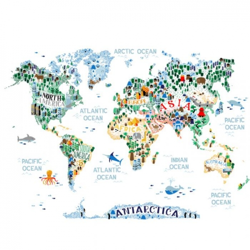 Vliesová tapeta Mr Perswall - The Cutest World Map Ever 360 x 265 cm
